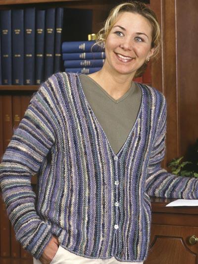 Sideways Knit Striped Cardigan photo