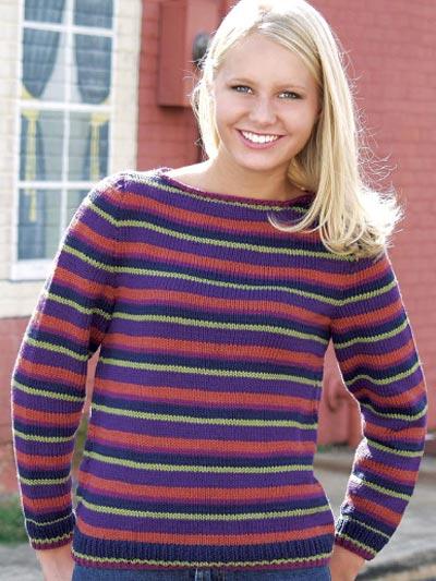 Striped Boat Neck Pullover photo