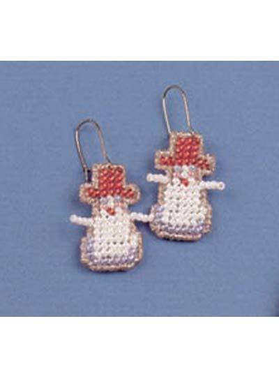 Beaded Snowman Earrings photo