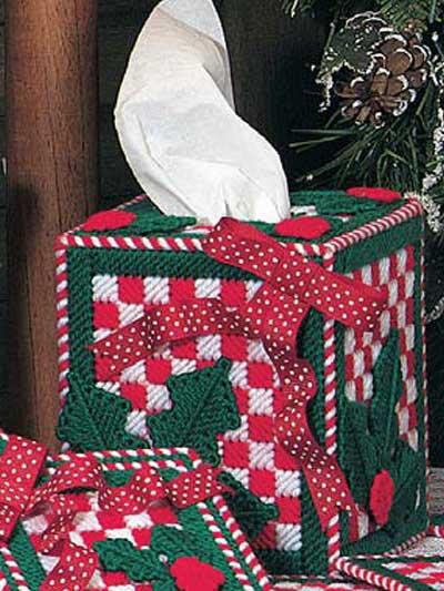 Christmas Checks Tissue Box Cover photo