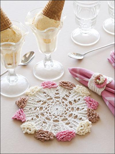 Ice Cream Cone Doily & Napkin Ring photo