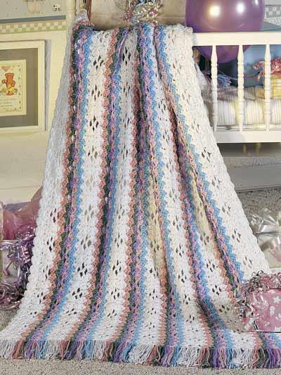Rainbow Stripes Baby Afghan photo