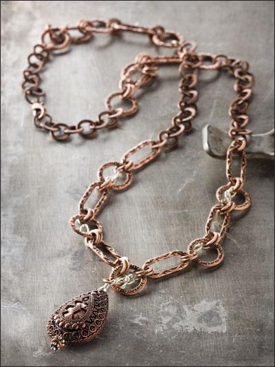 Copper & Silver Chain Necklace photo