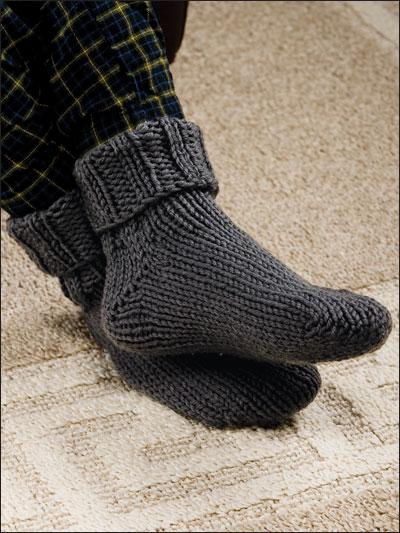 Ribbed Toe-Up Slipper Socks photo
