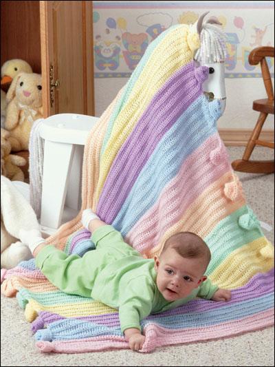 Rainbow Knots Baby Afghan photo